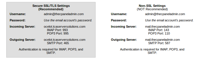 Configure Email Client Shows Wrong SSL Hostname - The cPanel